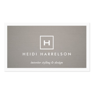 BOX LOGO with YOUR INITIAL MONOGRAM on GRAY LINEN Business Cards