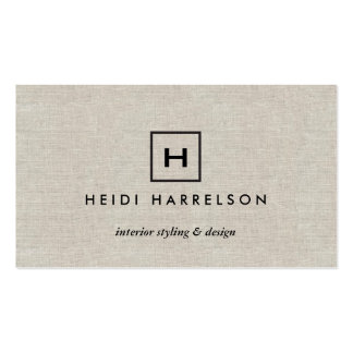 BOX LOGO with YOUR INITIAL/MONOGRAM on TAN LINEN Pack Of Standard Business Cards