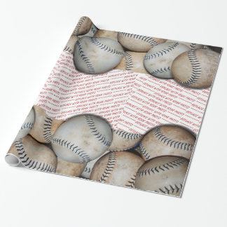 Box of Baseballs - Add Three Photos Wrapping Paper