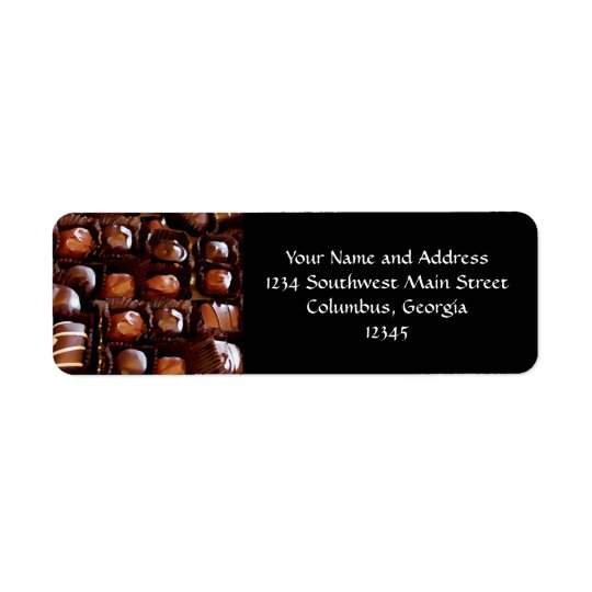 Box of Chocolates, Tempting Chocolate Candy Return Address Label
