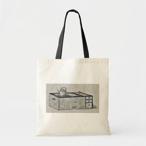Box with drawers, showing grill and teapot tote bag