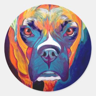 Boxer #1 round stickers