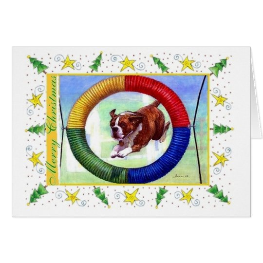 Boxer Agility Dog Blank Christmas Card