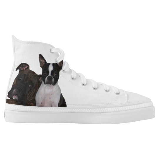 Boxer and Boston Terrier Hi-tops Printed Shoes