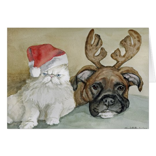 """Boxer and Cat"" Dog Art Greeting Card"
