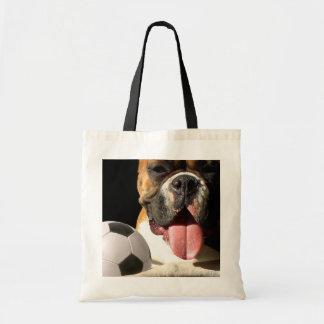 Boxer and Soccer ball tote bag