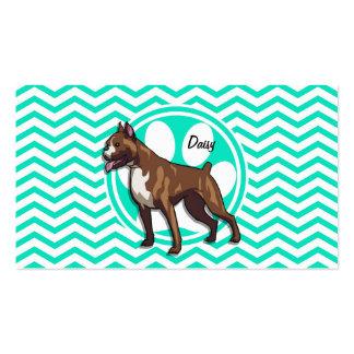 Boxer Aqua Green Chevron Business Card Templates