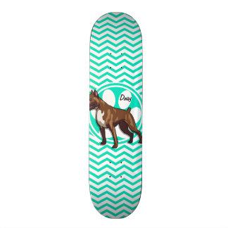 Boxer; Aqua Green Chevron Skate Board