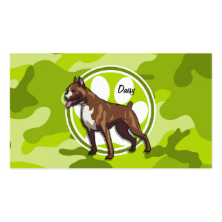 Boxer bright green camo camouflage business card