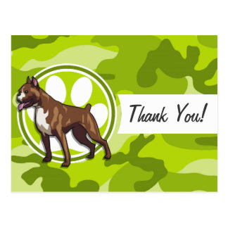 Boxer; bright green camo, camouflage post cards
