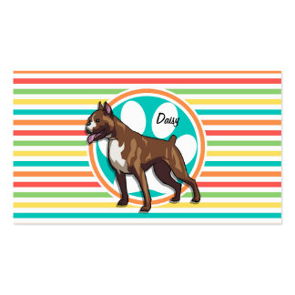 Boxer Bright Rainbow Stripes Business Card Template