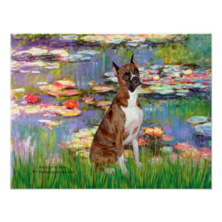 Boxer (brindle 5) - Lilies 2 Poster