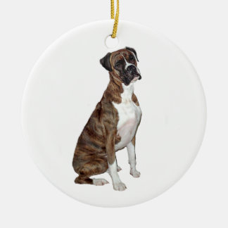 Boxer - brindle (natural ears) christmas ornament