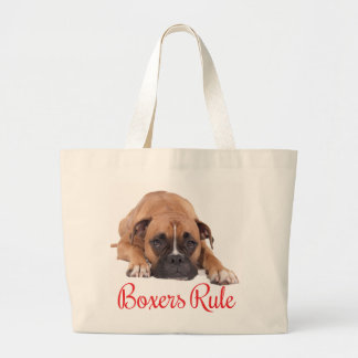 Boxer Brown And White Puppy Dog Red Boxers Rule Large Tote Bag