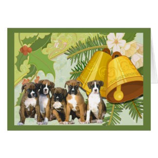 Boxer Christmas Card Bells