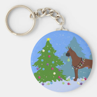 Boxer Christmas Forest Basic Round Button Key Ring