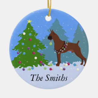 Boxer Christmas Forest Christmas Ornament