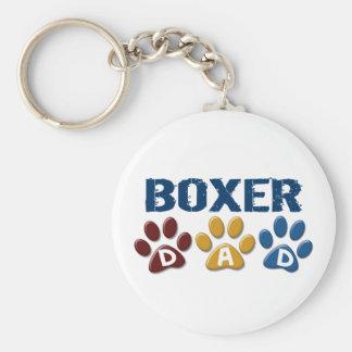 BOXER DAD Paw Print 1 Basic Round Button Key Ring