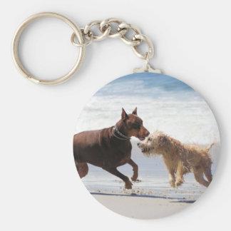 Boxer Doberman - Play Date at the Beach Key Ring