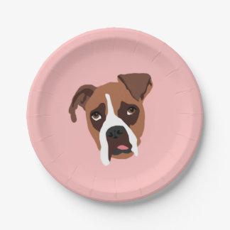 "Boxer Dog 7"" Paper Plates"