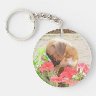 Boxer dog acrylic round keychain