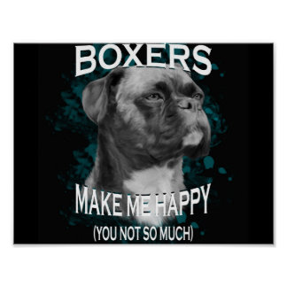 Boxer Dog Animal Lovers Art Text Poster