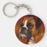 Boxer dog basic round button key ring