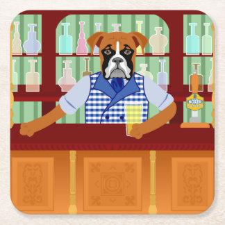 Boxer Dog Beer Pub Square Paper Coaster