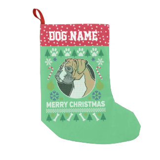 Boxer Dog Breed Ugly Christmas Sweater Small Christmas Stocking