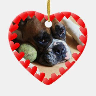 Boxer dog ceramic heart decoration