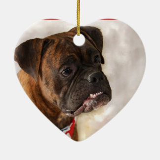 Boxer dog ceramic heart decoration