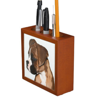 Boxer dog desk organizer