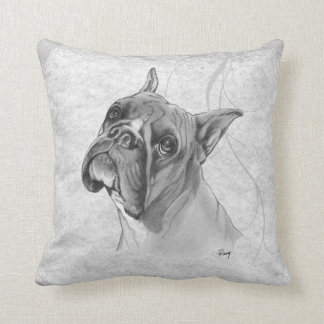 Boxer Dog Drawing Throw Pillow
