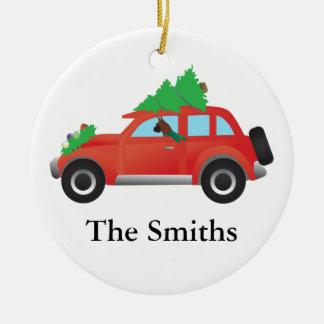 Boxer Dog Driving car w/ Christmas tree on top Christmas Ornament