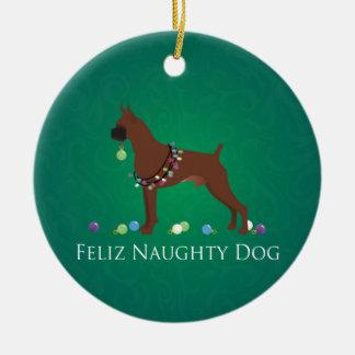 Boxer Dog Feliz Naughty Dog Christmas Design Christmas Ornament