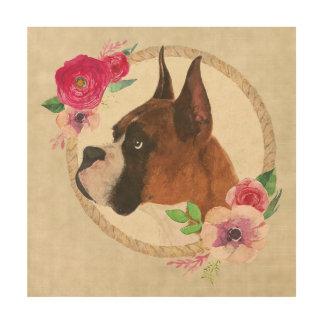 Boxer Dog & Floral Wreath Wood Prints