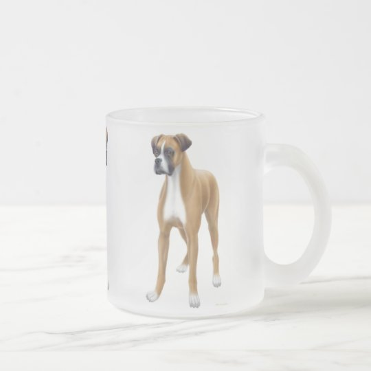 Boxer Dog Frosted Glass Mug