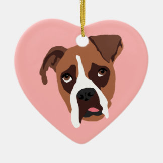 Boxer Dog Heart Ornament