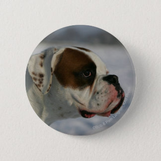 Boxer Dog in the Snow 6 Cm Round Badge