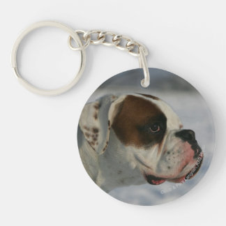 Boxer Dog in the Snow Double-Sided Round Acrylic Key Ring