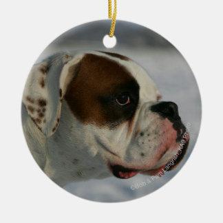 Boxer Dog in the Snow Round Ceramic Decoration