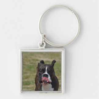 Boxer Dog Licking His Chops Key Chain