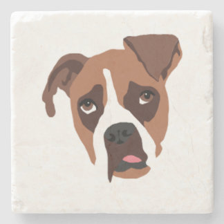 Boxer Dog Marble Stone Coaster