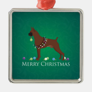 Boxer Dog Merry Christmas Design Christmas Ornament