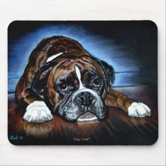 Boxer Dog Mousemat, Dog Tired Mouse Mat