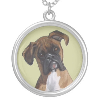 Boxer: Dog: Oil Pastel Freehand Art Illustration Round Pendant Necklace