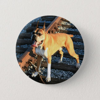 Boxer dog on Railroad Track Button