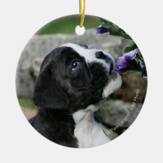 Boxer Dog Panting Christmas Ornament