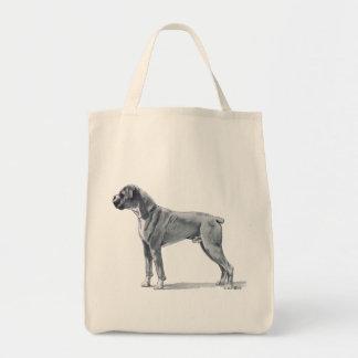 Boxer Dog Pencil Drawing Tote Bag
