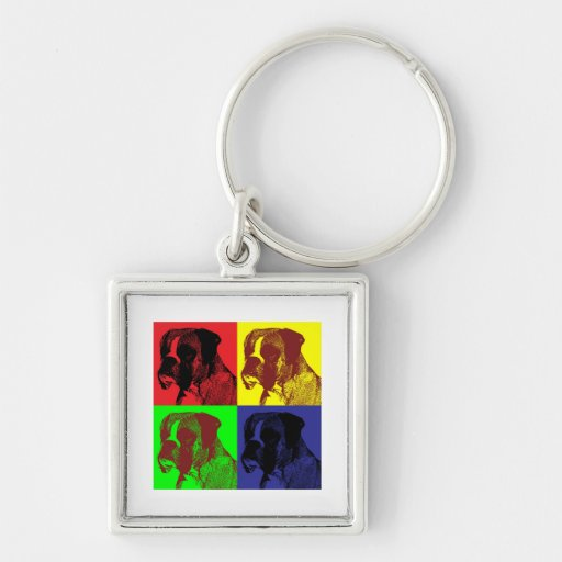 Boxer Dog Pop Art Style Key Chains